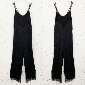 Zara • Black Fringe Jumpsuit Open Back Party S